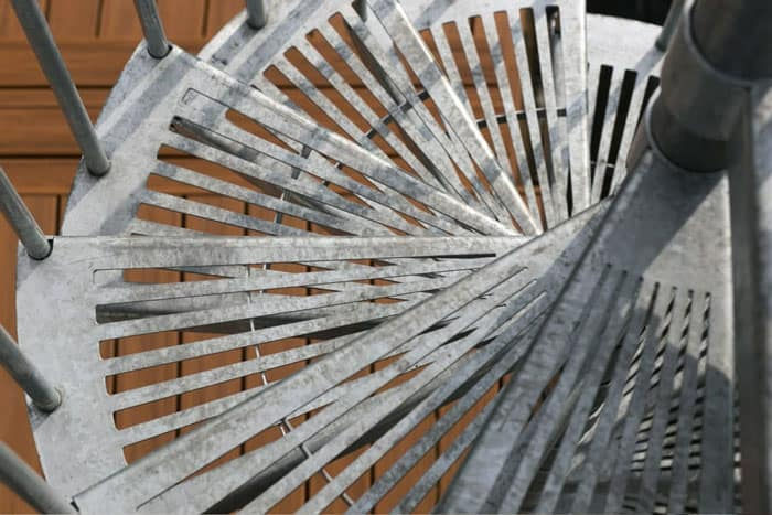 fan cut grated galvanized steps