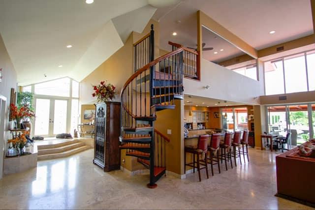 kitchen loft with spiral staircase