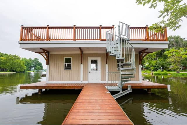 boat house with roof deck