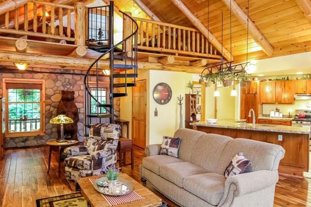 steel spiral staircase to cabin loft