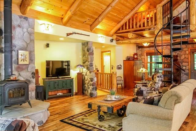 rustic cabin open living room