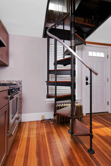Classic Steel Deck Spiral Staircase small space deck