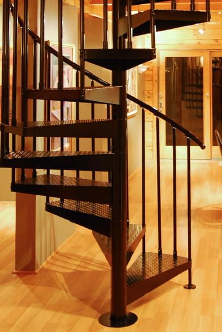Log cabin steel spiral stair
