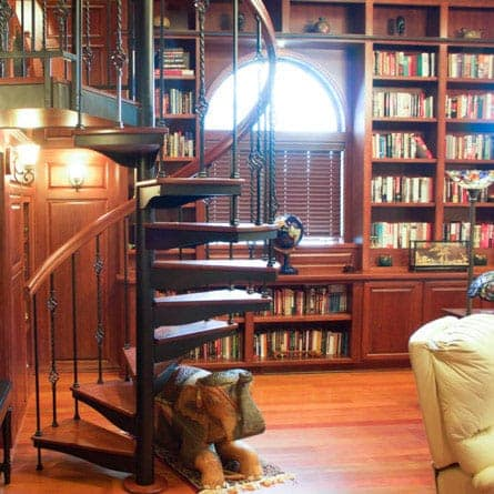 home library victorian spiral stair