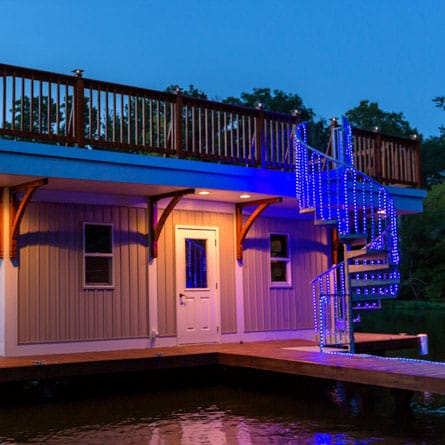 custom boat house stair with lights