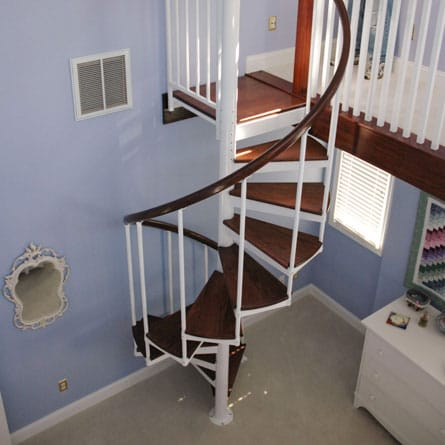 bedroom loft spiral staircase