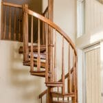 all wood spiral staircase mezzanine