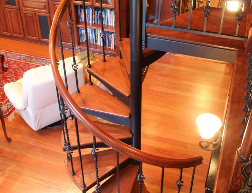 victorian spiral staircase in home library