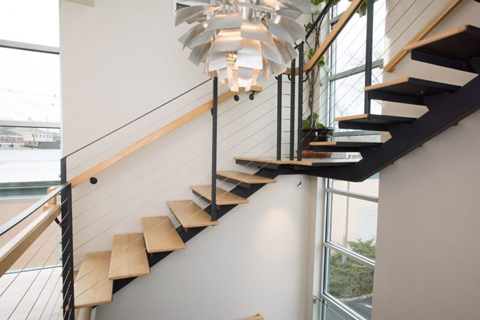 thin profile mono stringer floating stair