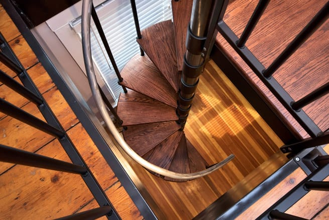 red oak treads on steel spiral stair