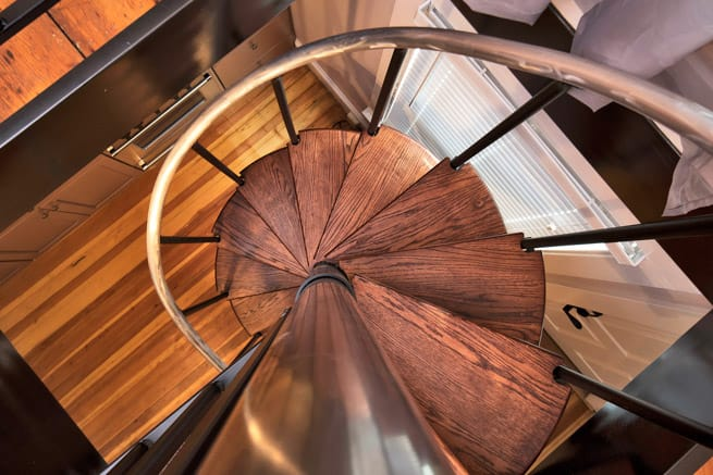red oak steps with aluminum handrail