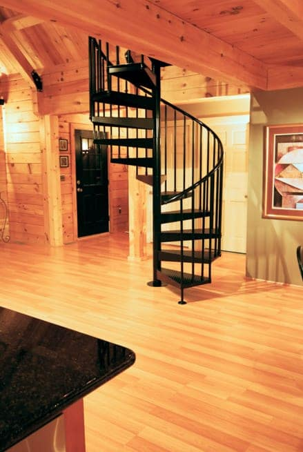 all steel stair in wood cabin