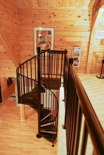 Steel Staircase And Railing On Cabin Loft