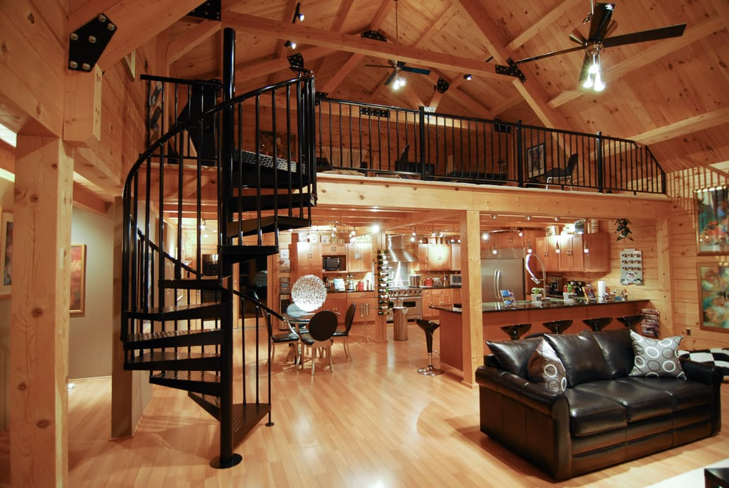 timberframe cabin with loft