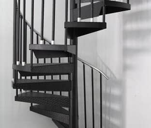 custom steel spiral staircase in commercial garage