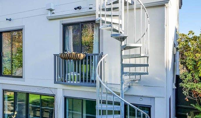 space saving multi level deck spiral stair