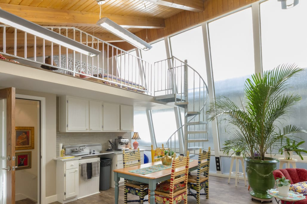 artist loft with spiral staircase