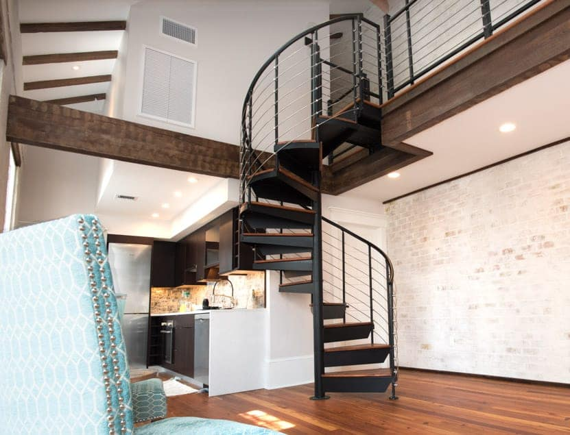 new orleans cottage with spiral stair