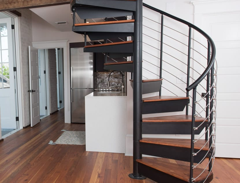 steel line rail spiral staircase