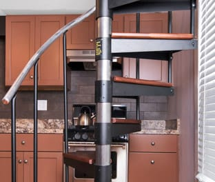 steel spiral staircase with adjustable height
