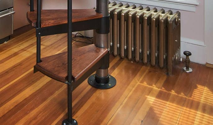 steel spiral stair kit with wood steps