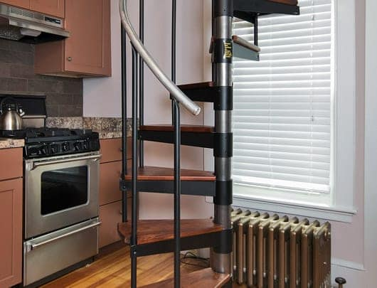 kitchen condo diy spiral staircase