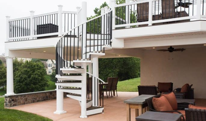 under deck patio with spiral staircase