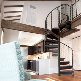 small apartment loft spiral staircase