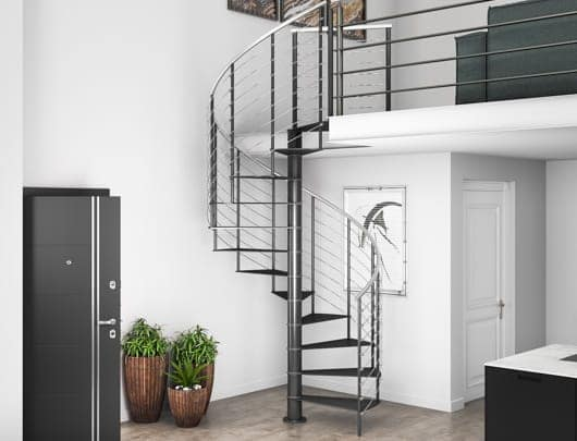 compact spiral staircase to loft