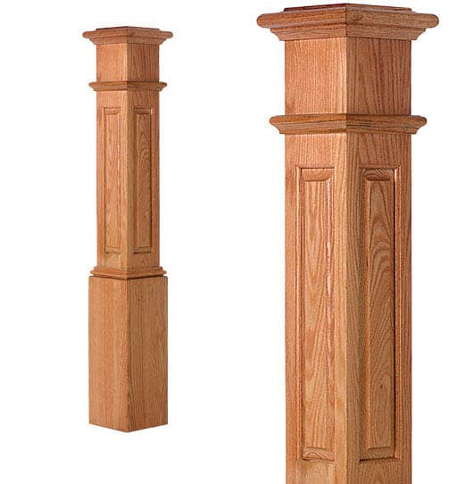 LJRA-4091-Traditional Raised Panel Box Newel