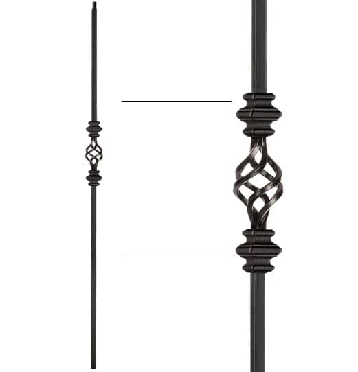 "Double Knuckle Single Basket Baluster - 1/2"" X 44"""