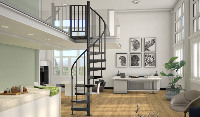 The Gateway (Indoor Steel Compact Spiral Stairs)