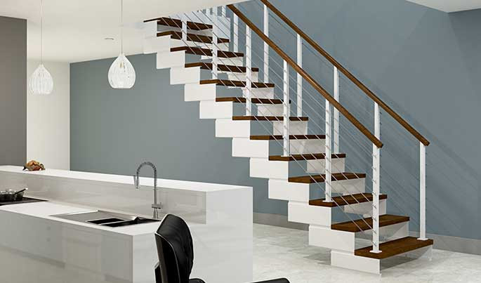 white powder coated staircase