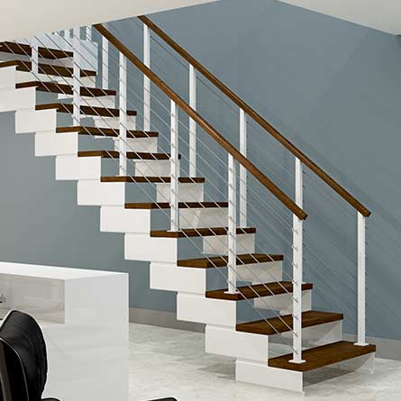 white steel frame staircase