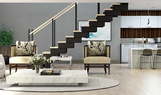 switchback modular stairs