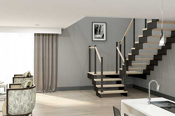 modular stair with platform