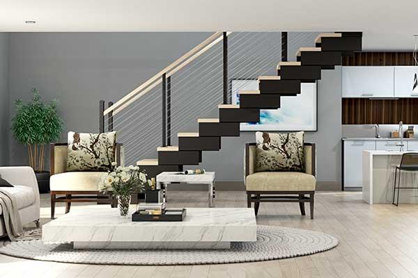 modern open frame modular stair