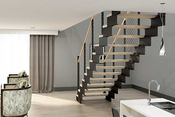 luxury condo with floating stair