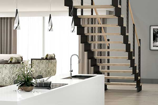 open floorplan with floating stair