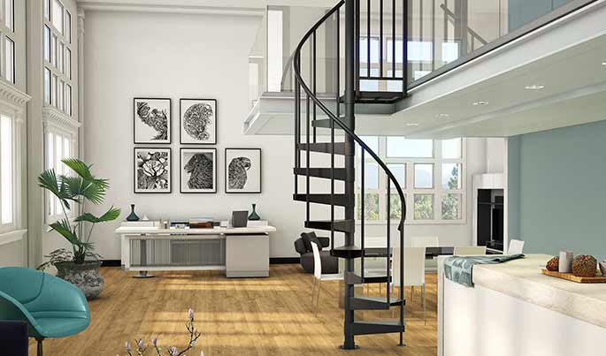 modern apartment loft with spiral staircase