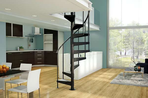 modern apartment with spiral stairs